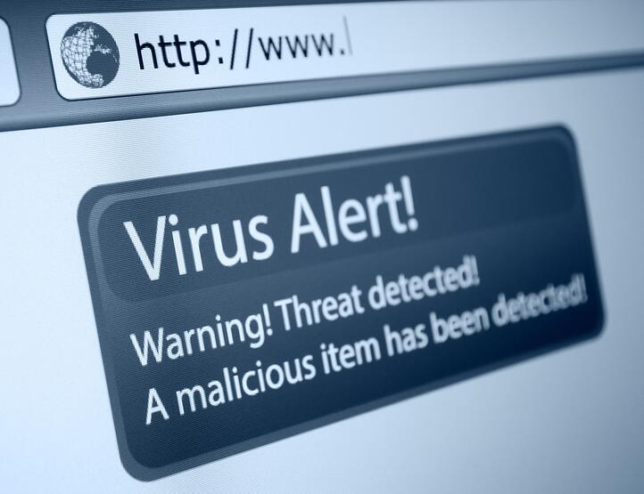 IT security virus alert screen shot