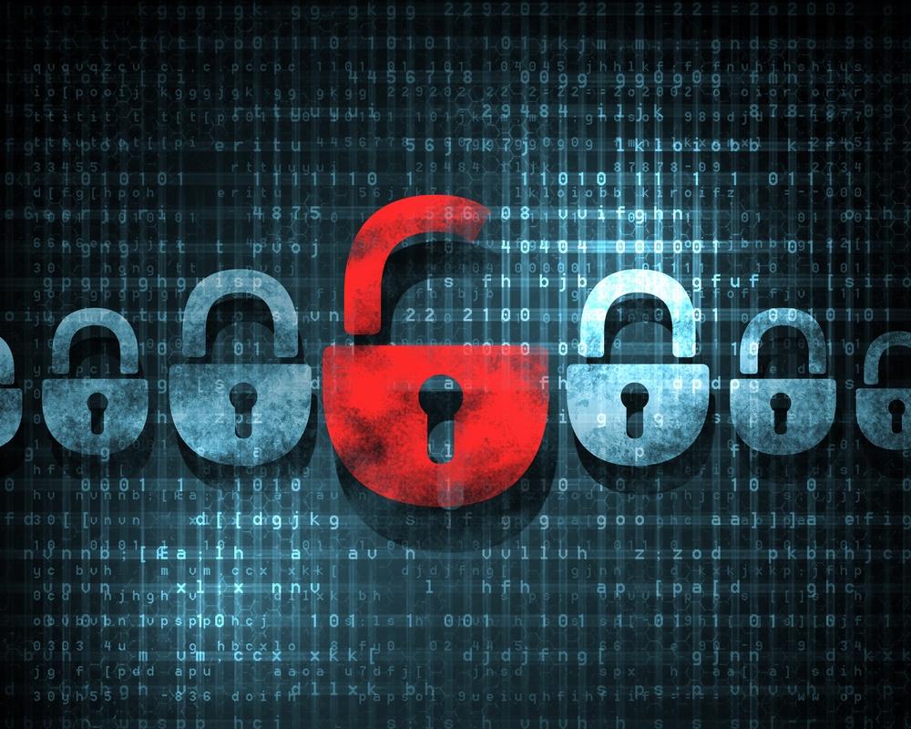 Row of locks representing cyber attack